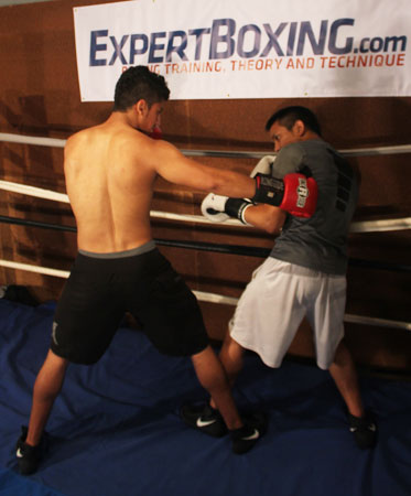 southpaw traps orthodox along the ropes