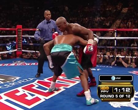 Mayweather crushing Mosley